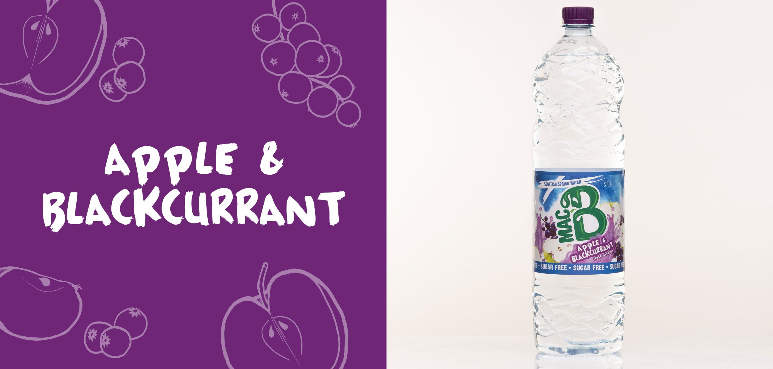 Apple and Blackcurrant flavoured Macb water in a 1.5l bottle