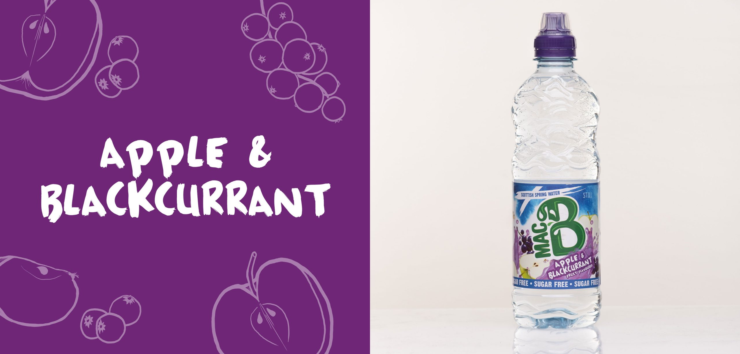 Apple and Blackcurrant flavoured Macb water in a 500ml bottle