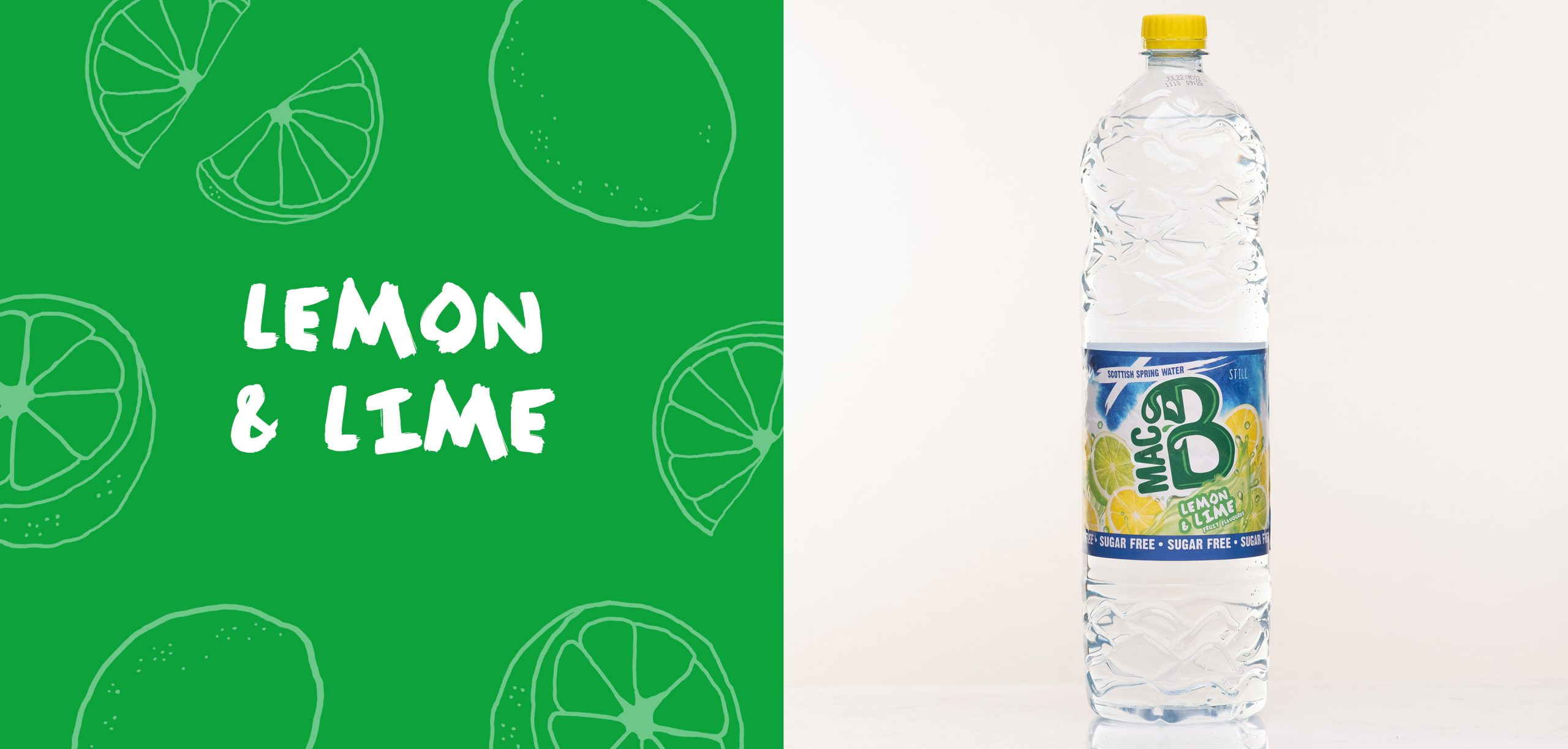Lemon and Lime flavoured Macb water in a 1.5l bottle
