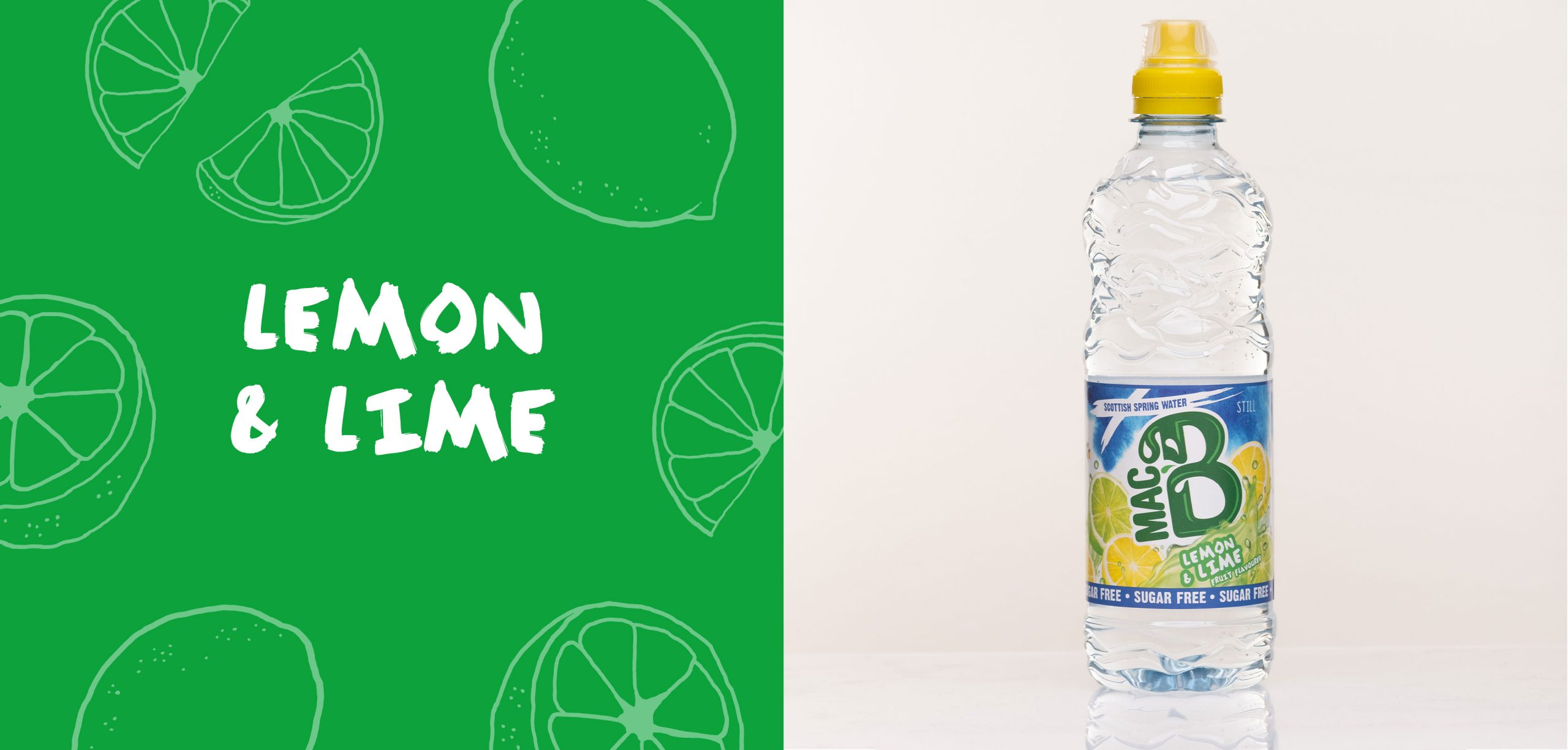 Lemon and Lime flavoured Macb water in a 500ml bottle