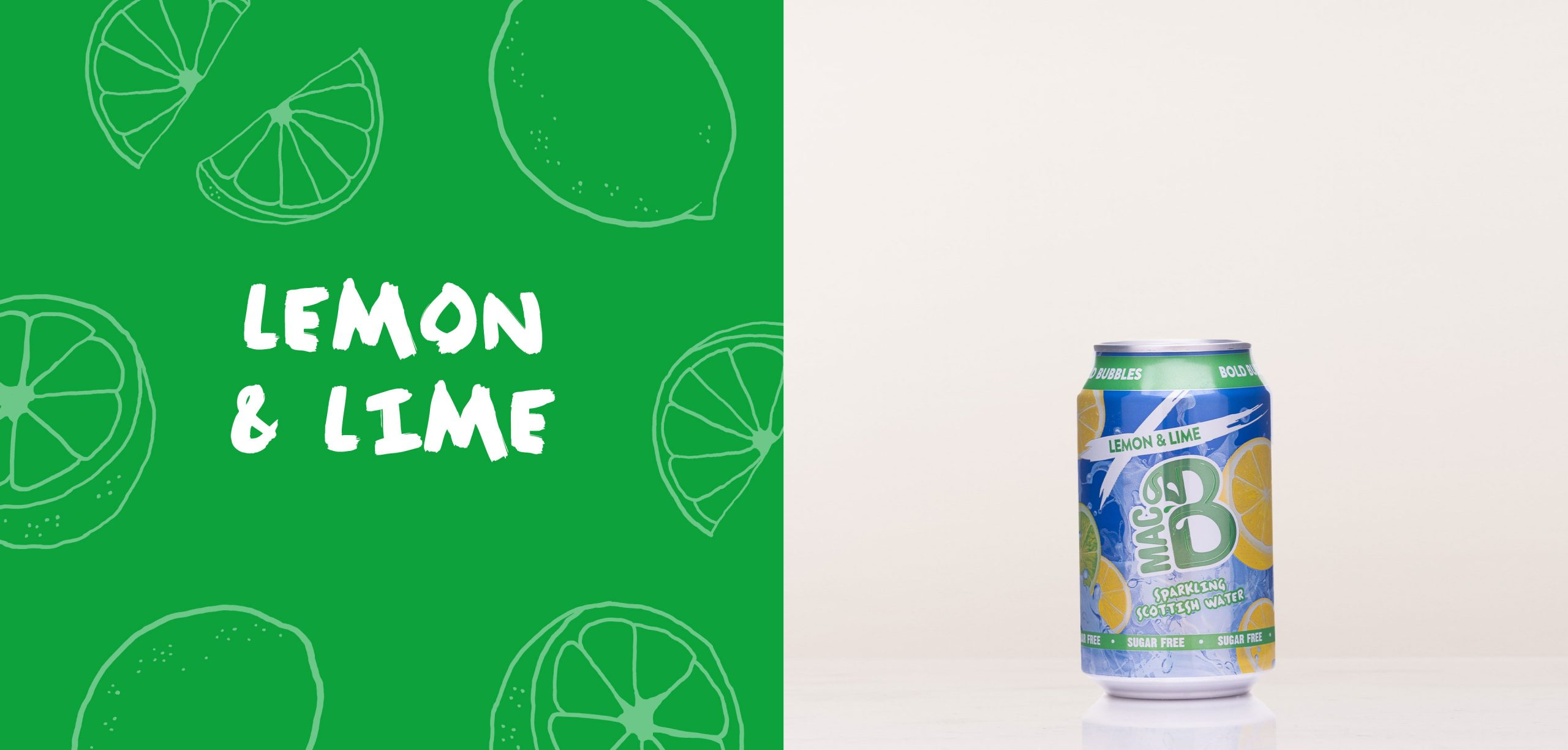 Lemon and Lime flavoured Macb sparkling flavoured water in a 330ml can