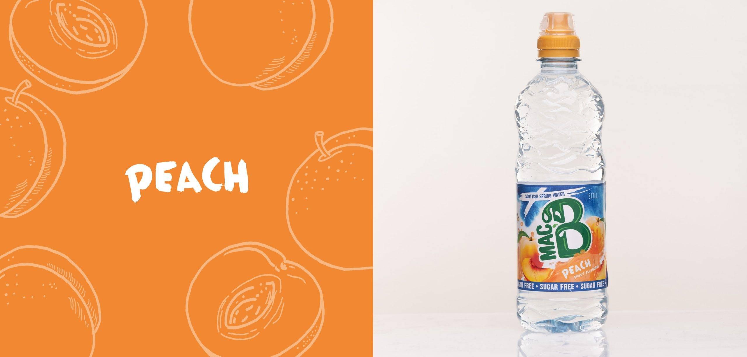 Peach flavoured Macb water in a 500ml bottle