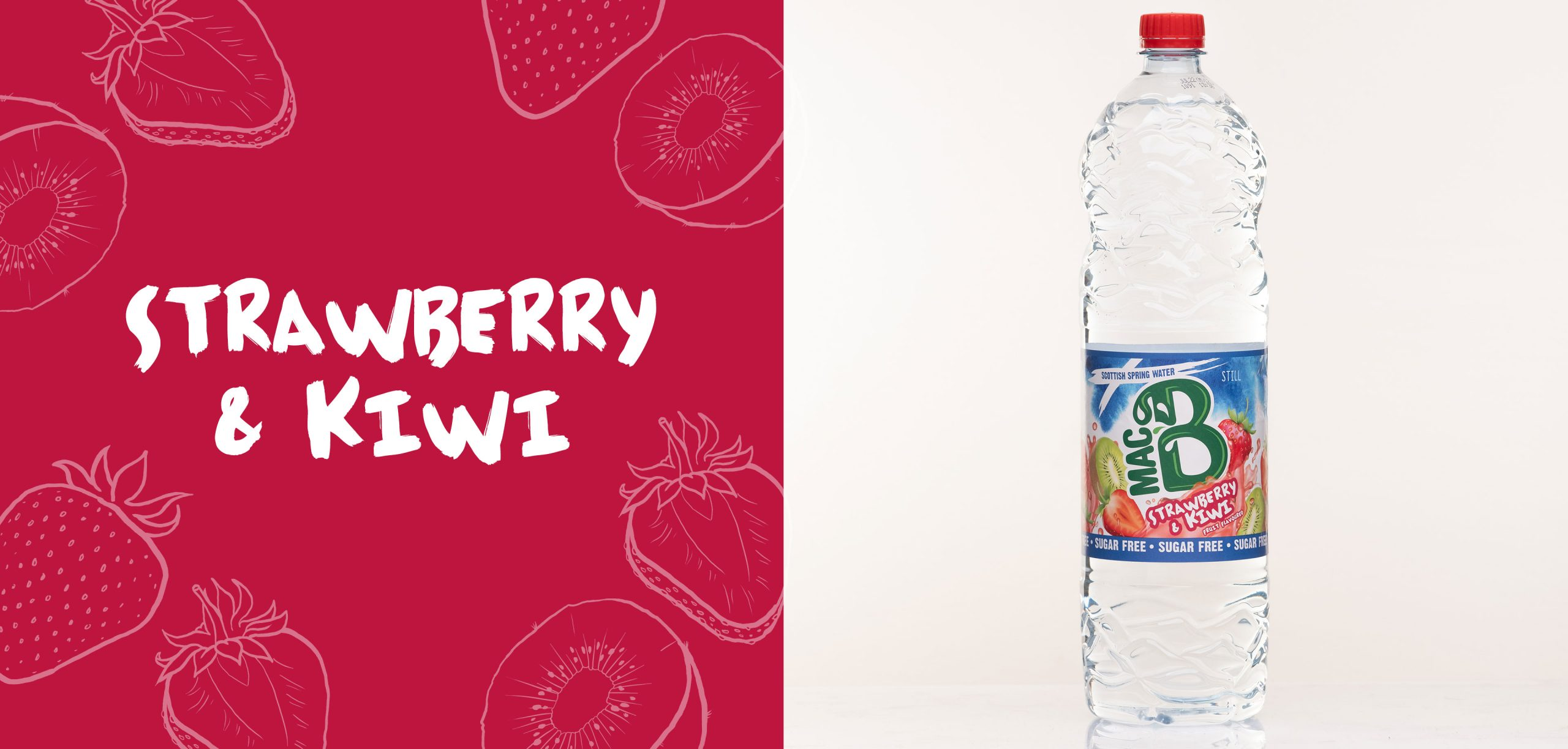 Strawberry and Kiwi flavoured Macb water in a 1.5l bottle
