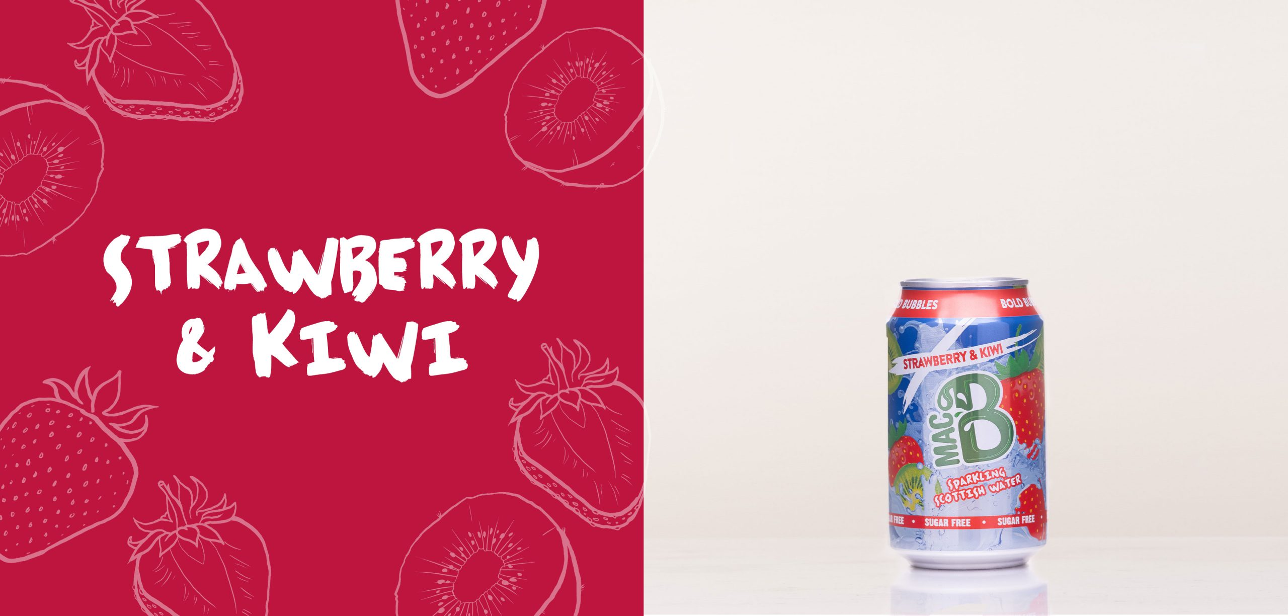 Strawberry and Kiwi flavoured Macb sparkling flavoured water in a 330ml can